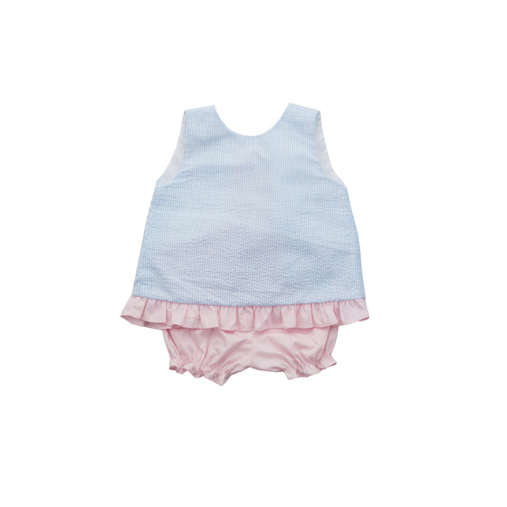 Ava Swing Top and Bloomer Set-Blue Seersucker/Pink Peony