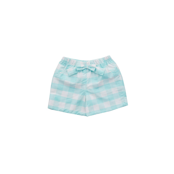 Peyton Play Shorts-Aqua Gingham