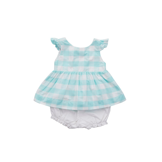 Bow Back Bloomer Set-Aqua Gingham