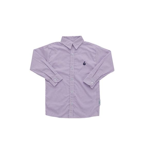 Boy's Button Down Shirt-Lavender Microcheck