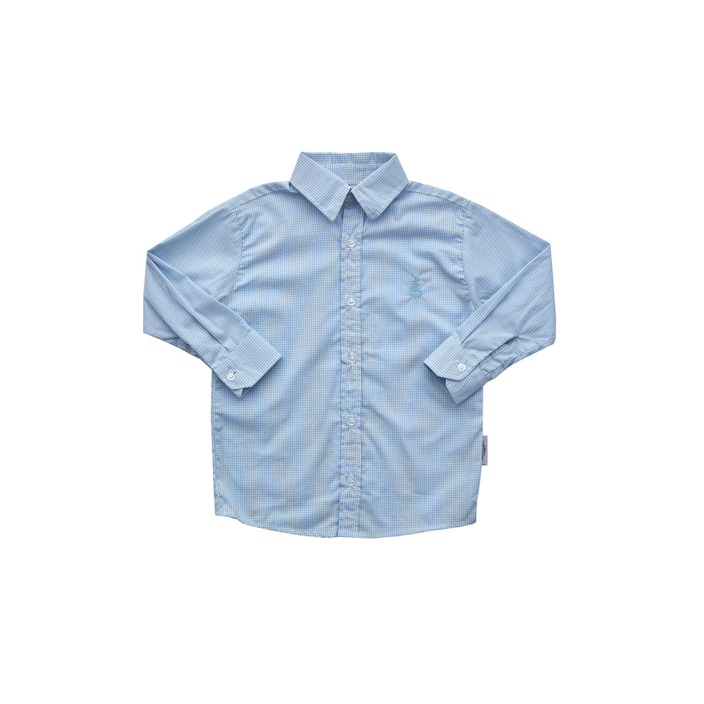 Boy's Button Down Shirt-Chatham Bars Blue Microcheck