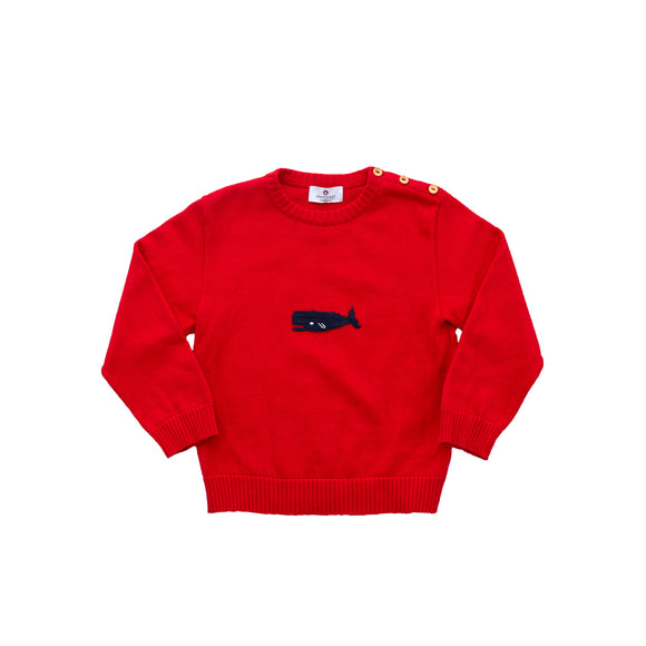 Whale Watch Sweater-Royal Red