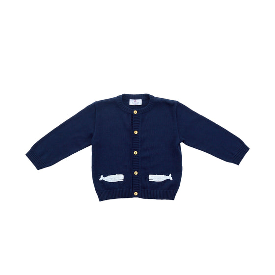 Whale Watch Pima Cardigan-Nautical Navy