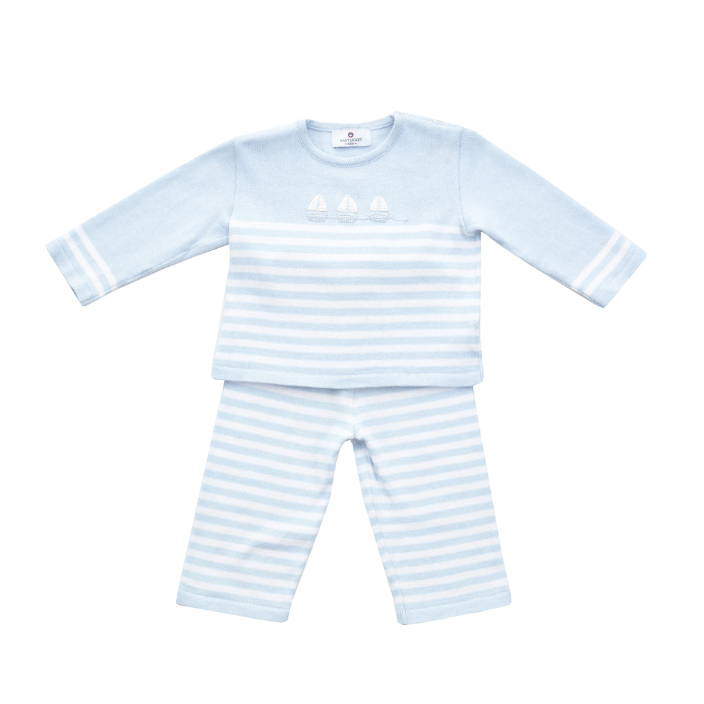 Sailboat Pull Toy Sweater Set-Blue