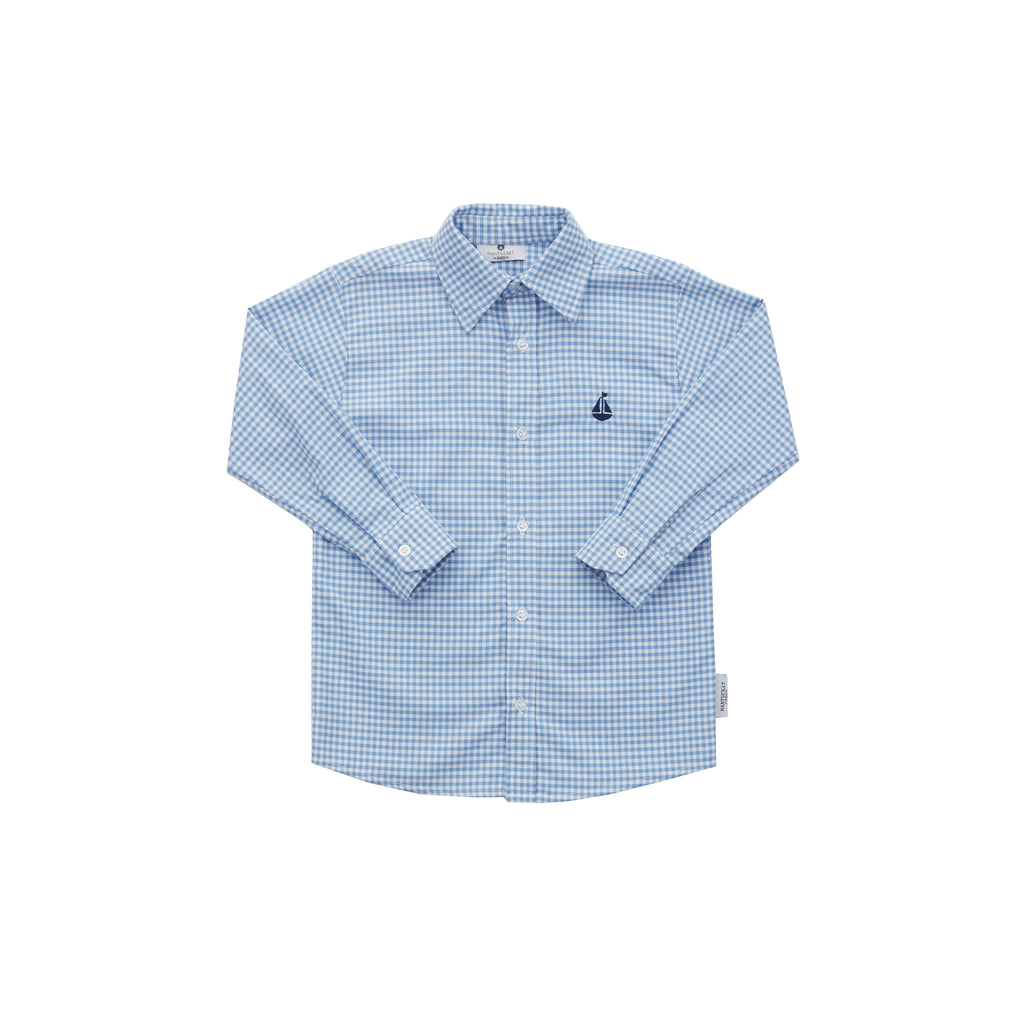 Boy's Button Down Shirt-Hydrangea Gingham