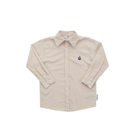Boy's Button Down Shirt-Sand Gingham