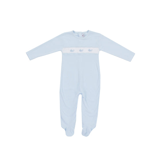 Whale Watch Hand-Smocked Pima Footie-Baby Blue
