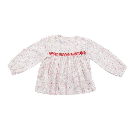 Petit Floral Smocked Top-Red