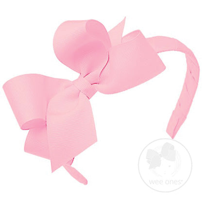 Wee Ones Medium Classic Grosgrain Bow on Headband-Light Pink