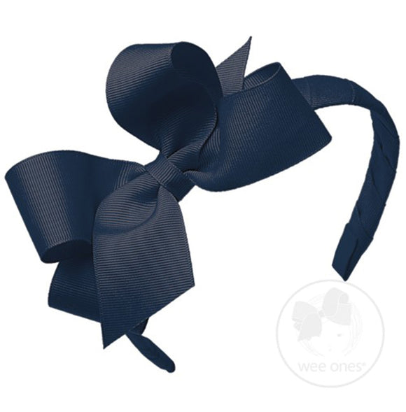 Wee Ones Medium Classic Grosgrain Bow on Headband-Nautical Navy