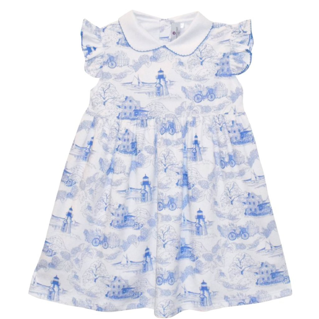 Nellie Dress in Nantucket Toile