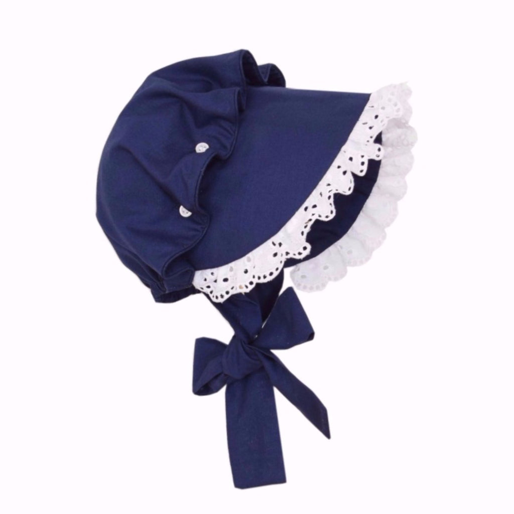 Beatrice Bonnet-Nautical Navy with Eyelet Trim