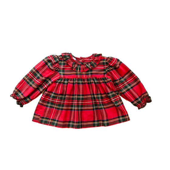 Riley Ruffle Royal Tartan Top