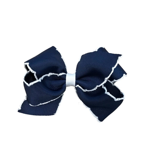 Wee Ones Medium Moonstitch Bow-Navy