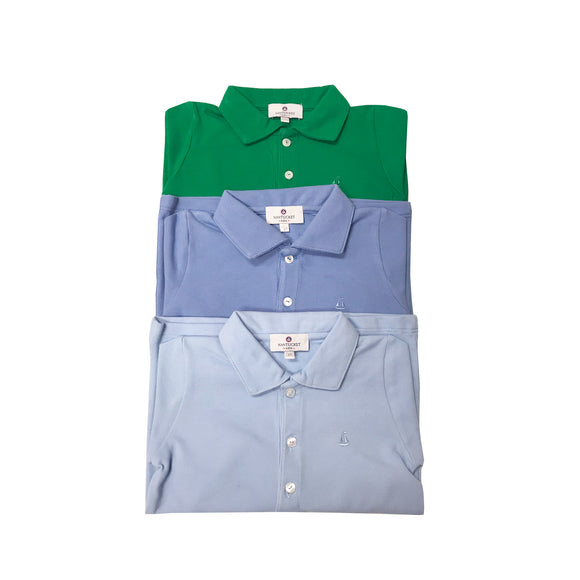 Set Sail Long Sleeve Pique Polo-Chatham Bars Blue