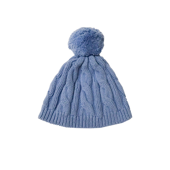 Cable Knit Pom Pom Hat-Cornflower Blue