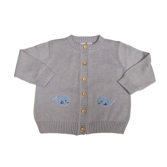Whale Watch Pima Cardigan-Grey with Blue Whales
