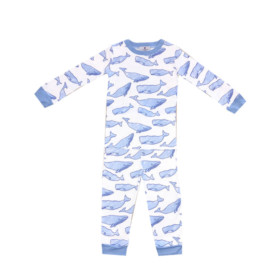 Watercolor Whales Pima Jammies 2-Piece Set