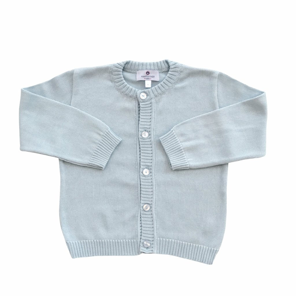 Pima Cotton Cardigan-Spa Blue