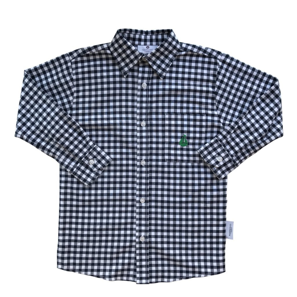 Boy's Button Down Shirt-Navy Gingham
