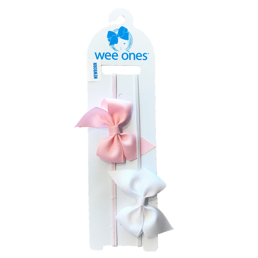 Wee Ones 2-Pack of Baby Bow Head Bands White/Light Pink