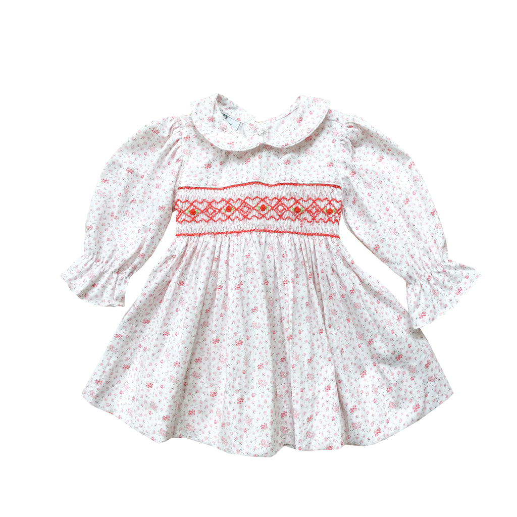 Petit Floral Smocked Dress-Pink and Royal Red