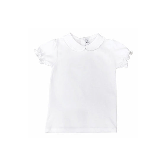 Ruffled Collar Pima Cotton Short Sleeve Top