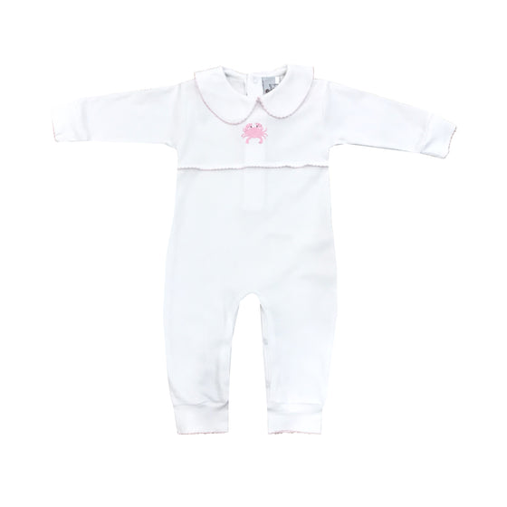 Crab Applique Pima Romper-Pink Crab
