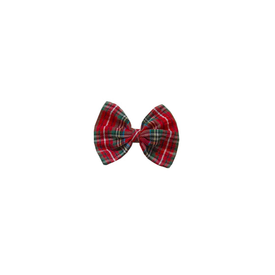 Holly Hair Bow-Seersucker Holiday Tartan