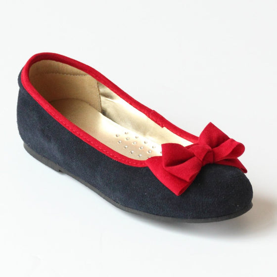 Suede and Velveteen Bow Flats
