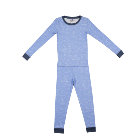 Seas the Day Pima Jammies 2-Piece Set-Periwinkle/Nautical Navy