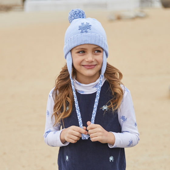 Crab Pom Pom Hat-Chatham Bars Blue