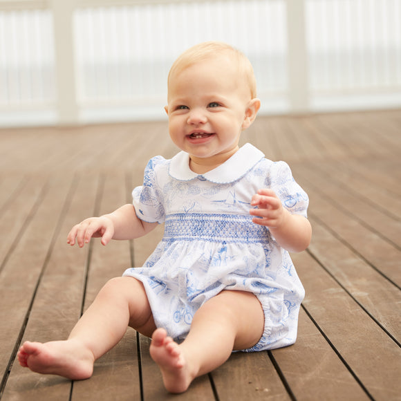 Nantucket Toile Smocked Bubble