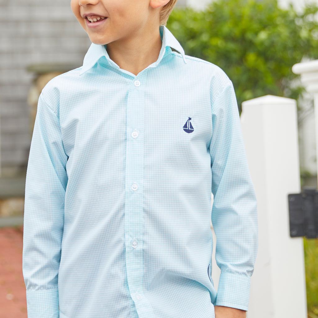 Boy's Button Down Shirt-Aqua Microcheck