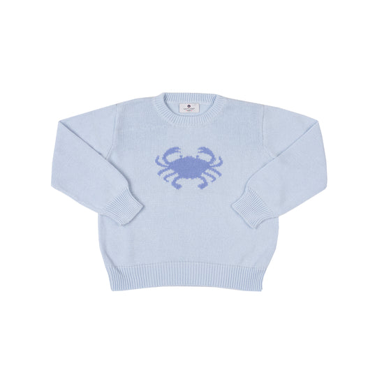Crab Intarsia Sweater-Chatham Bars Blue