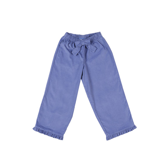 Ruffled Prep Pants-Cornflower Blue Corduroy