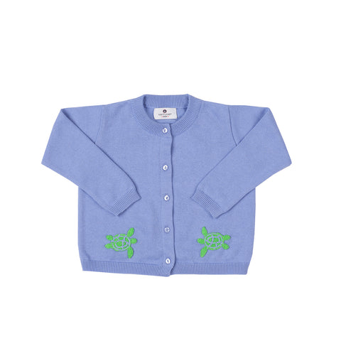 Sea Turtle Pima Cardigan-Cornflower Blue