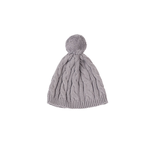 Cable Knit Pom Pom Hat-Heather Grey
