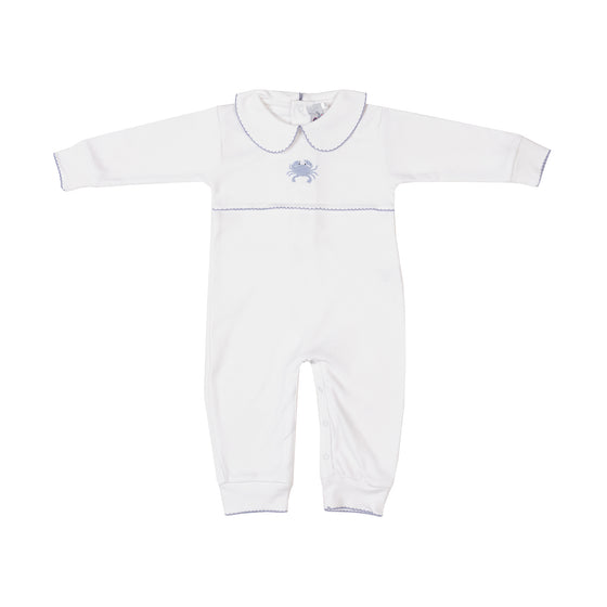 Crab Applique Pima Romper-Blue Crab