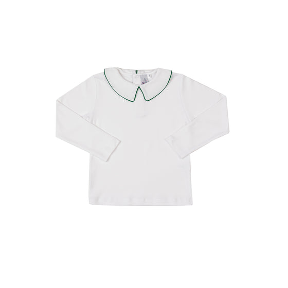 Pima Peter Pan Collar Shirt-Greenwich Green Trim