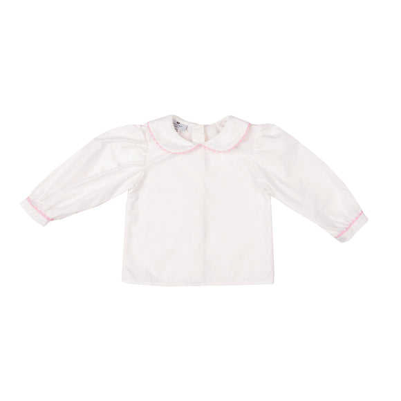Georgette Blouse-White with Pink Peony Trim