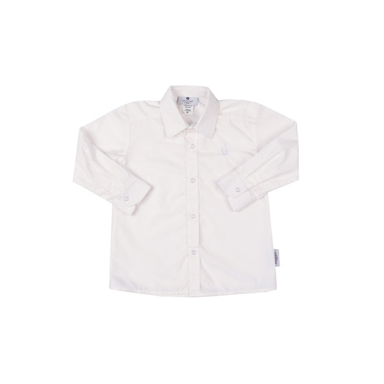Boy's Button Down Shirt-Classic White