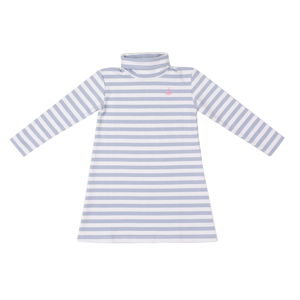 Tisbury Turtleneck Dress-Cornflower Stripe