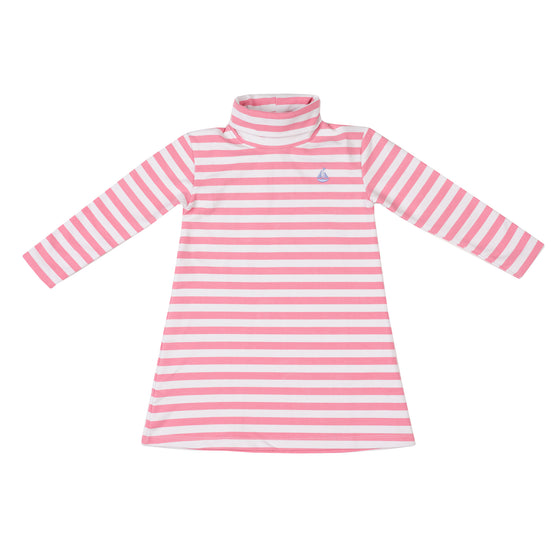 Tisbury Turtleneck Dress-Pocomo Pink Stripe