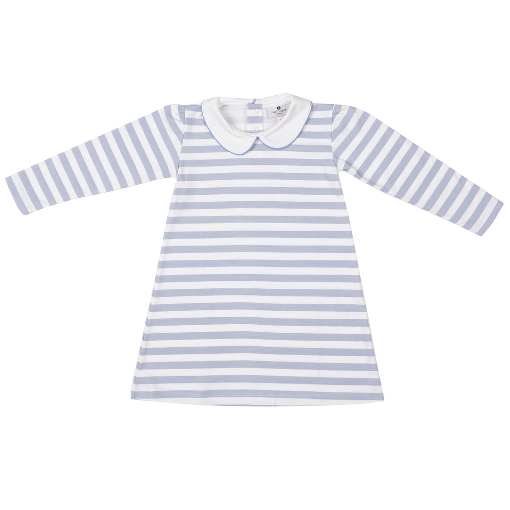 Pima Play Dress-Cornflower Stripe