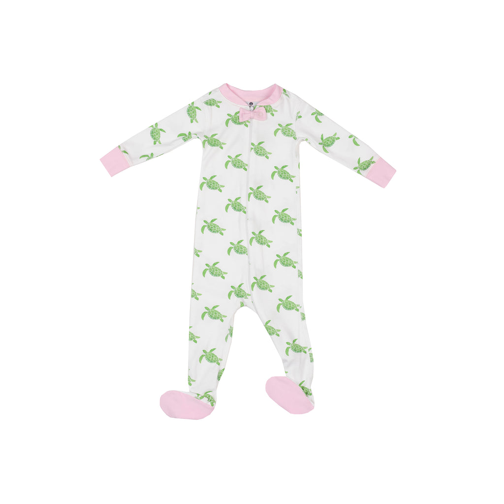 Sea Turtle 1-Piece Pima Footie-Pink Peony Trim