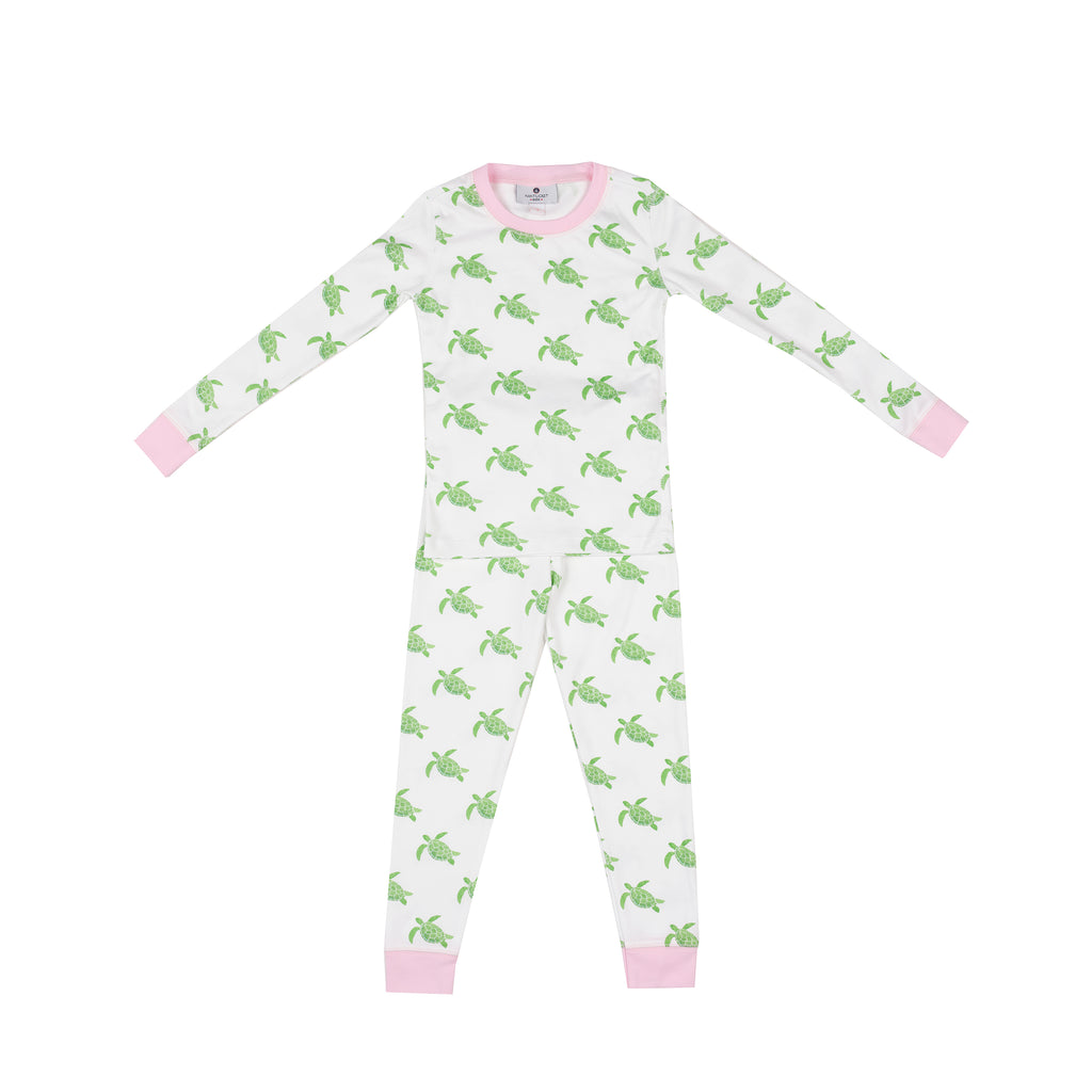 Sea Turtle Pima Jammies 2-Piece Set-Pink Peony Trim