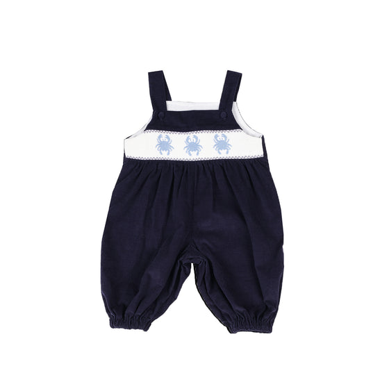 Smocked Crab Romper-Nautical Navy