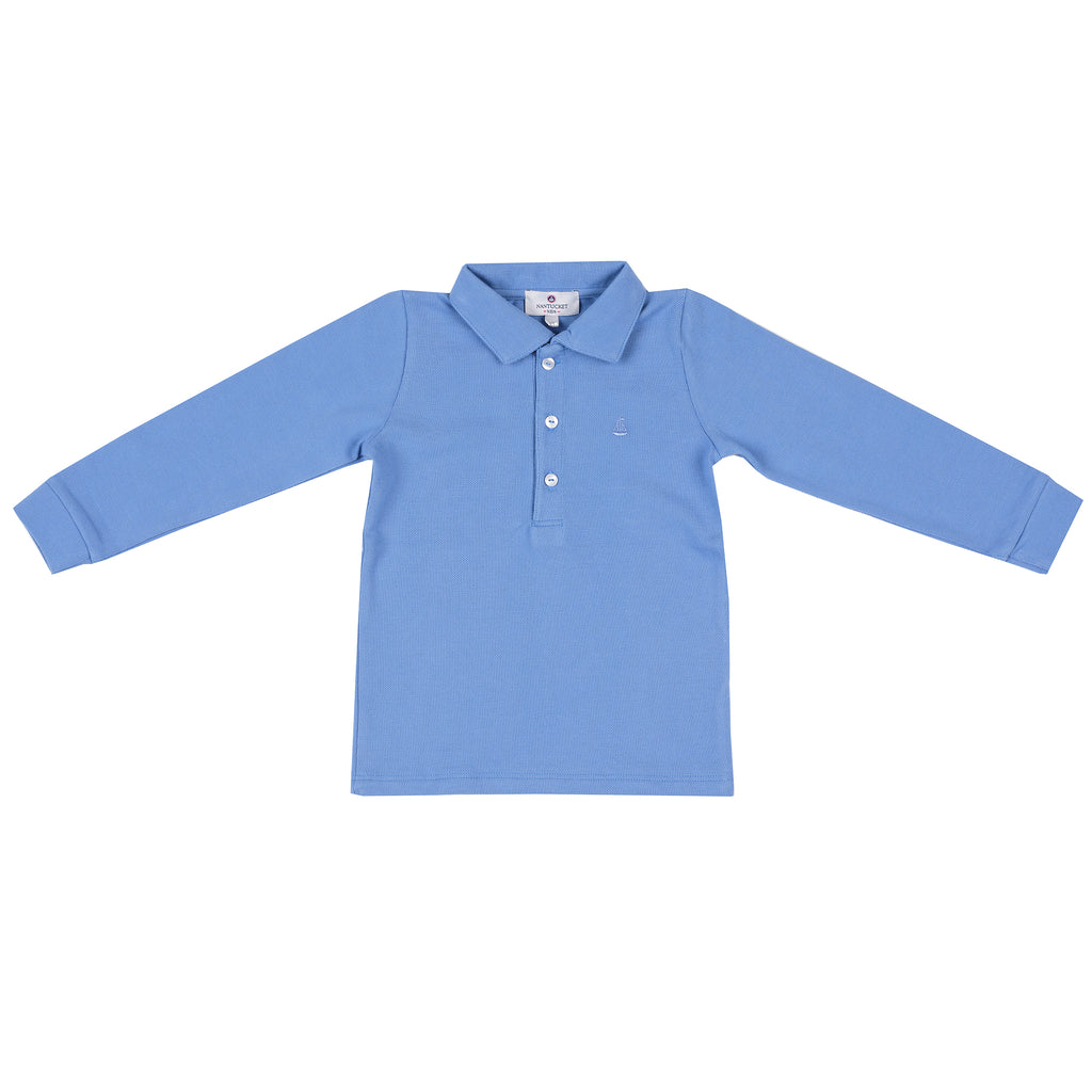 Set Sail Long Sleeve Pique Polo-Cornflower Blue