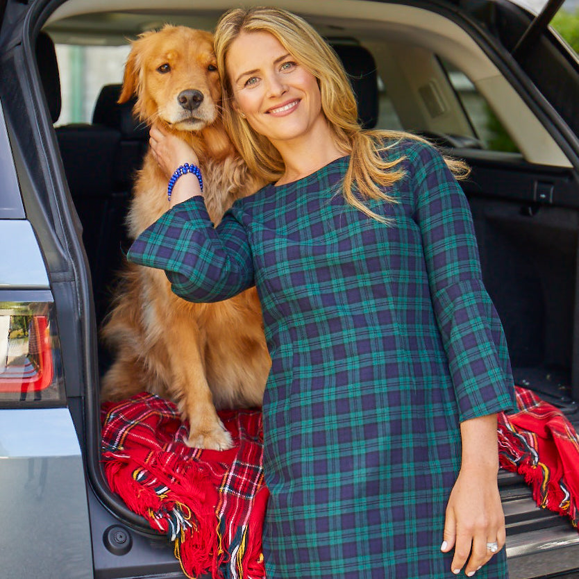 Celeste Dress-Hunter/Navy Tartan